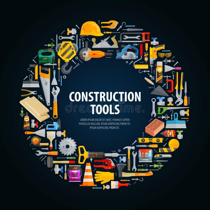 Conception de logo de vecteur de réparation et de construction illustration libre de droits