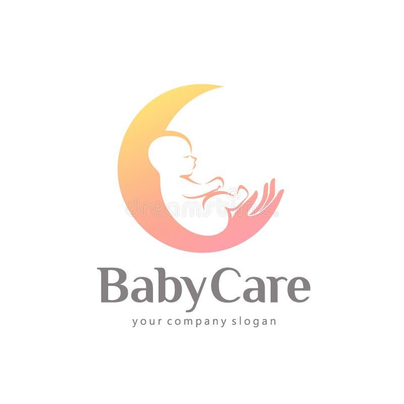 Conception de logo de vecteur de soin, de maternité et de grossesse de bébé illustration libre de droits