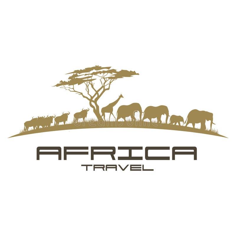 Conception de logo de voyage de l'Afrique illustration stock