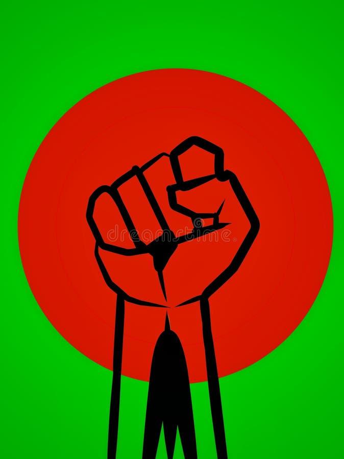 Conception de logo du Bangladesh Conception créative de drapeau du Bangladesh Conception noire, rouge et verte de logo illustration libre de droits