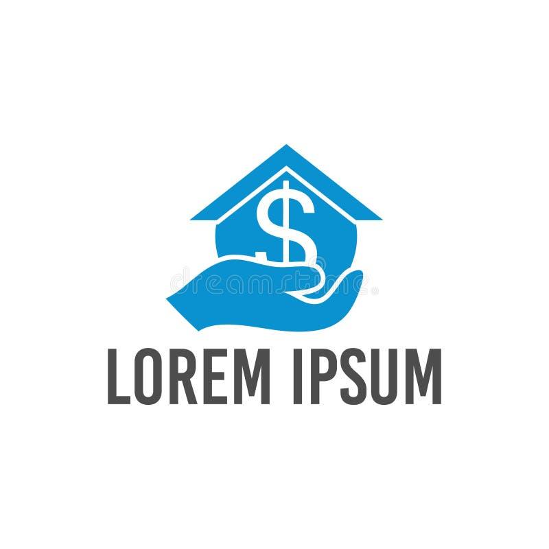 Conception de logo du dollar de maison d'illustration de vecteur et d'icône de main illustration libre de droits