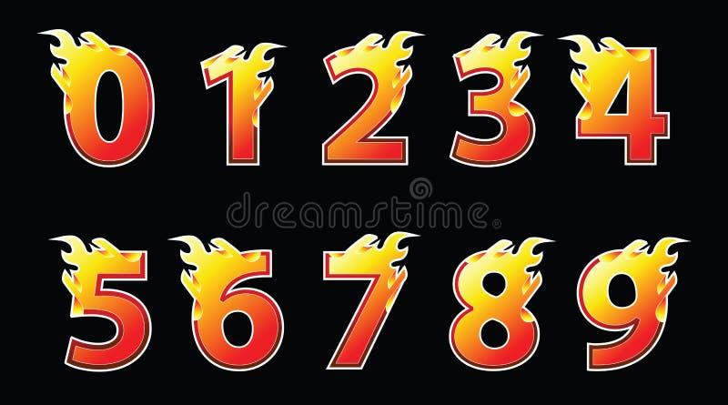 Conception de logo du feu de nombres illustration stock