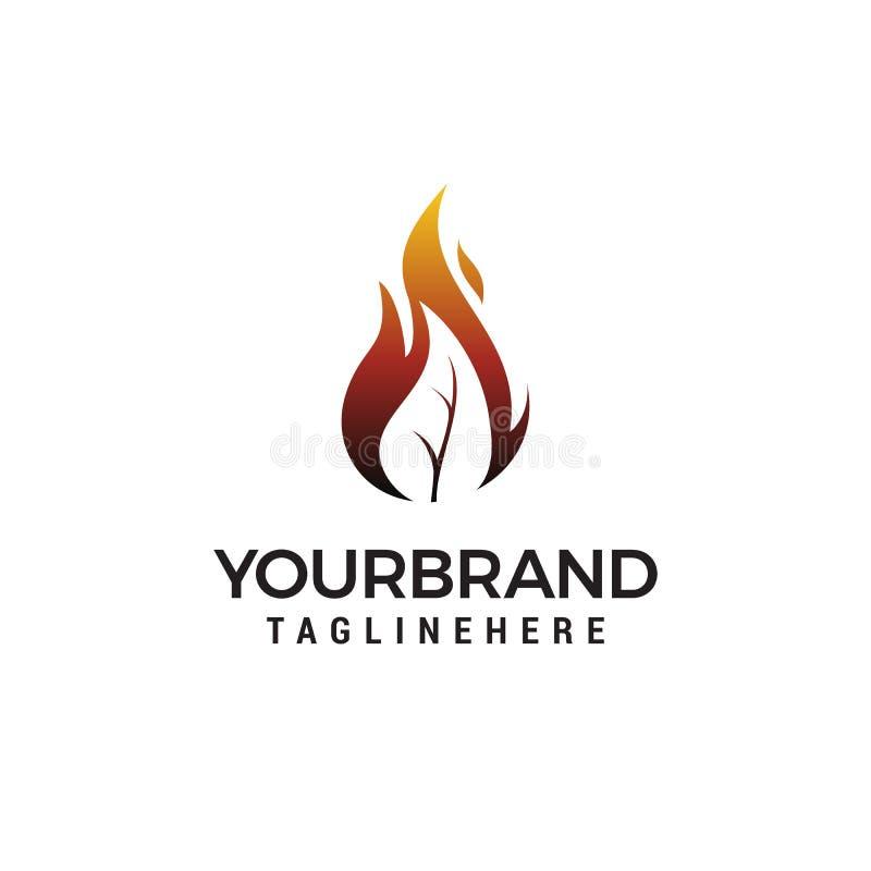 Conception de logo de flamme de feuille du feu illustration de vecteur