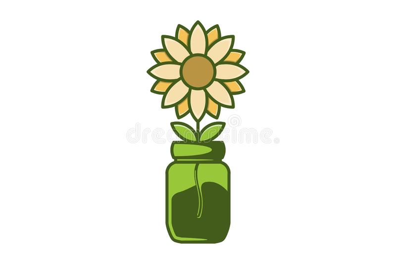 conception de logo de fleur et de pot du soleil illustration stock