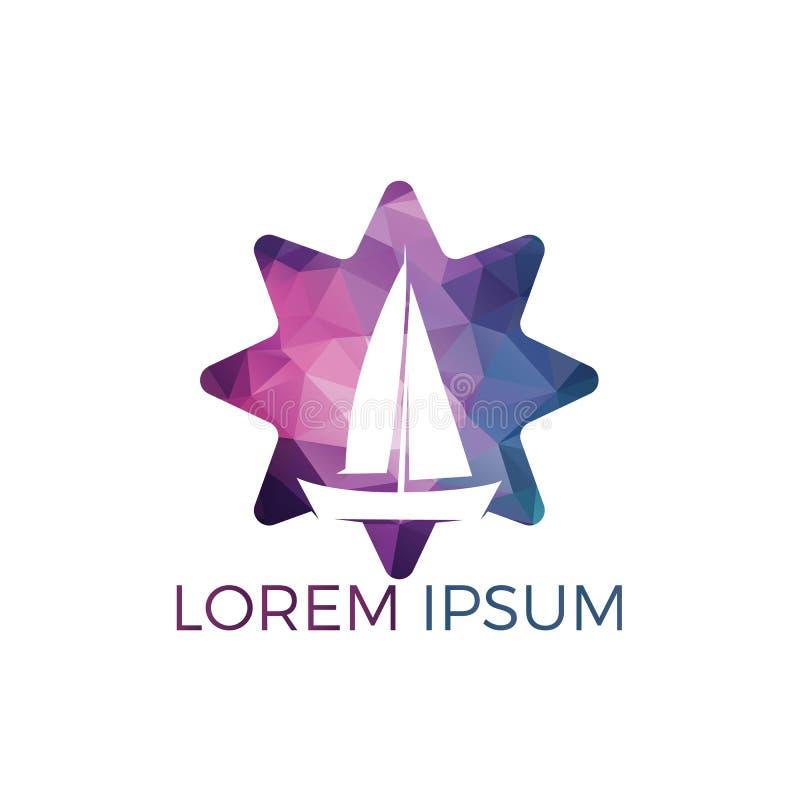 Conception de logo de forme d'étoile de yacht Conception de logo de vecteur d'équipe de sport de club ou de yacht de plaisance illustration stock