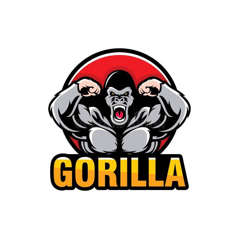 Conception de logo de gorille d'isolement sur le fond blanc illustration de vecteur