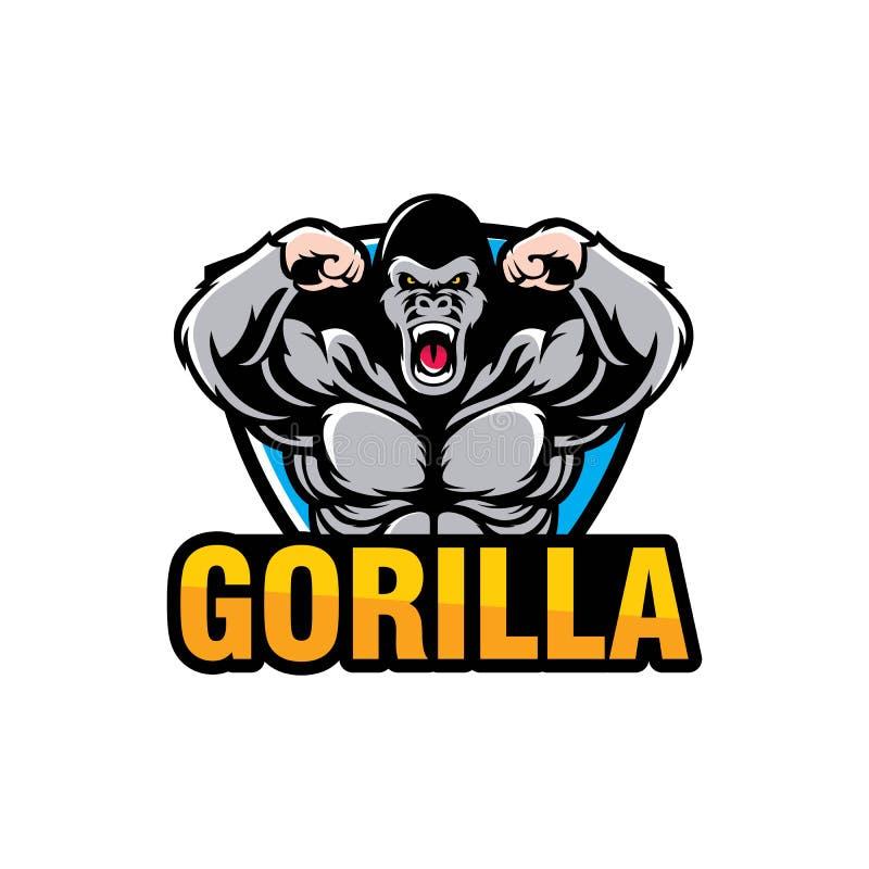 Conception de logo de gorille d'isolement sur le fond blanc illustration libre de droits