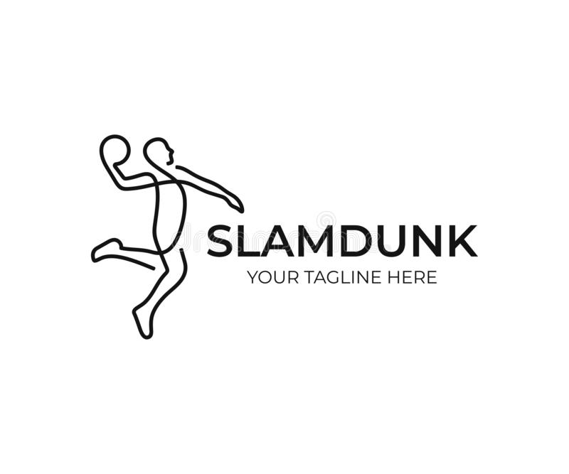 Conception de logo de joueur de basket Le claquement trempent la conception de vecteur illustration de vecteur