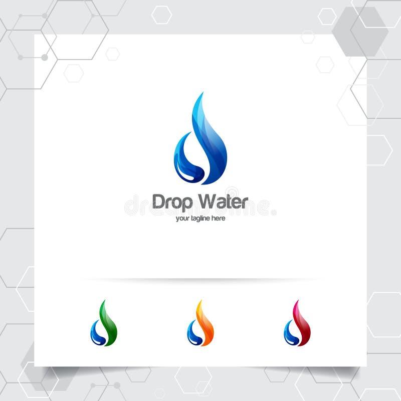 Conception de logo de l'eau de baisse avec le concept de l'icône de gouttelette et du vecteur de l'eau d'éclaboussure utilisés po illustration stock