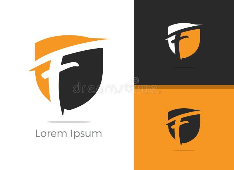 Conception de logo de la lettre F de protection et sécurité, lettre de F dans l'icône de vecteur de bouclier illustration stock