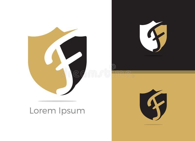 Conception de logo de la lettre F de protection et sécurité, lettre de F dans l'icône de vecteur de bouclier illustration de vecteur