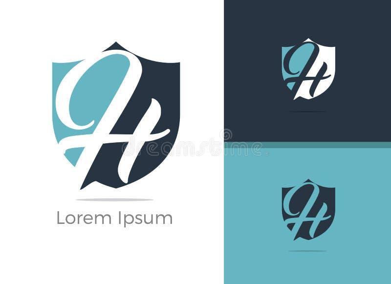 Conception de logo de la lettre H de protection et sécurité, lettre de H dans l'icône de vecteur de bouclier illustration libre de droits