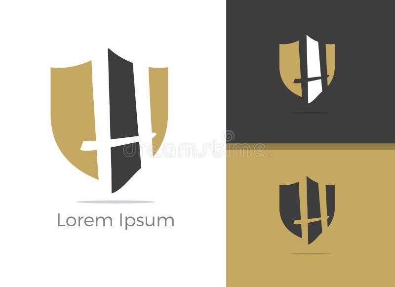 Conception de logo de la lettre H de protection et sécurité, lettre de H dans l'icône de vecteur de bouclier illustration stock
