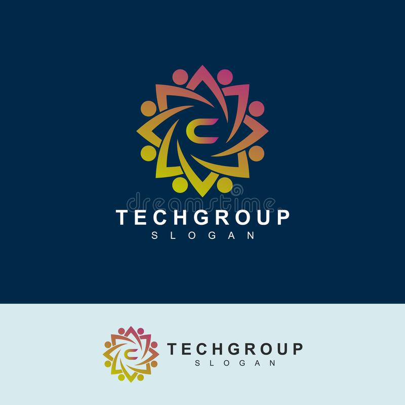 Conception de logo de la lettre initiale C de groupe de technologie utilisable pour le logo de société illustration libre de droits