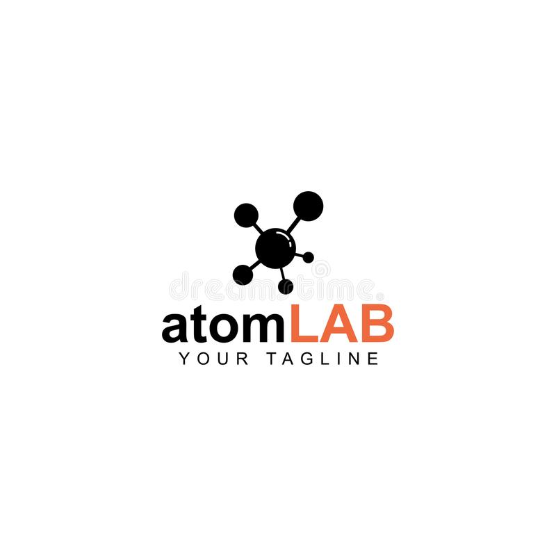Conception de logo de laboratoire d'atome, symbole de la science illustration libre de droits