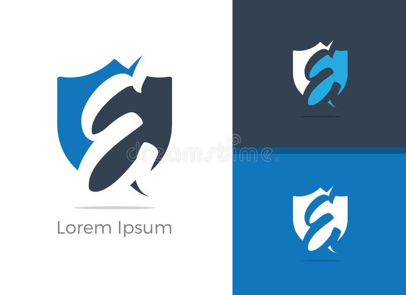 Conception de logo de lettre de la protection et sécurité E Lettre E de protection dans l'icône de vecteur de bouclier illustration libre de droits