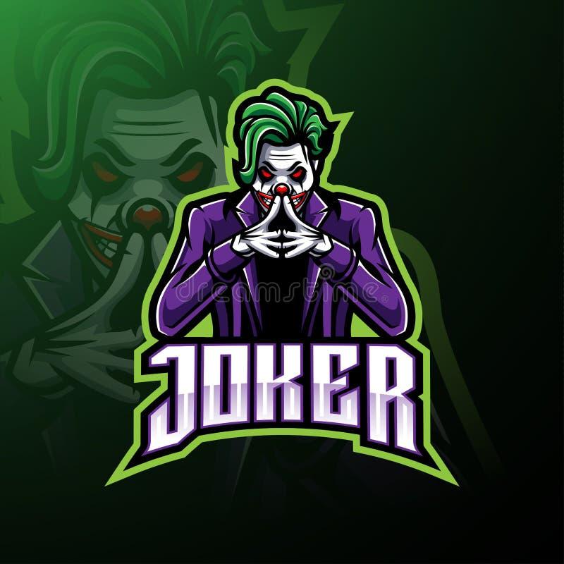 Conception de logo de mascotte d'esport de joker illustration de vecteur