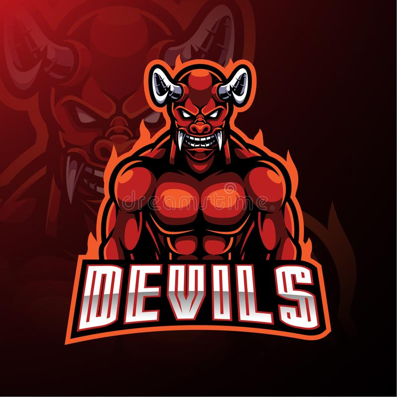 Conception de logo de mascotte de diable rouge illustration libre de droits