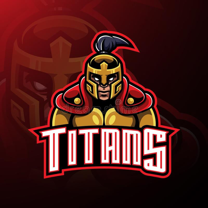 Conception de logo de mascotte de guerrier de titans illustration stock