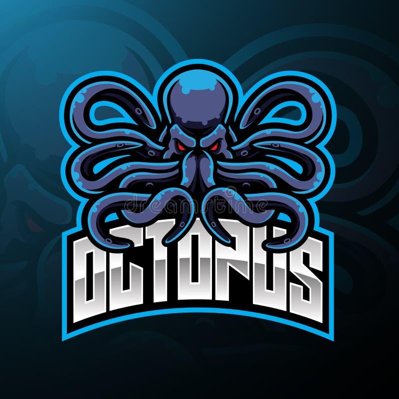 Conception de logo de mascotte de sport de poulpe illustration stock