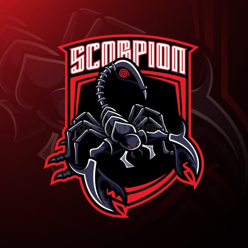 Conception de logo de mascotte de sport de scorpion illustration de vecteur