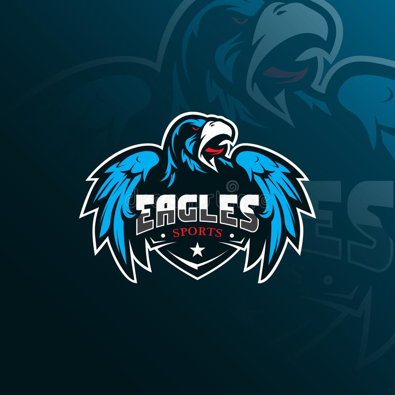 Conception de logo de mascotte de vecteur d'Eagle avec le style moderne de concept d'illustration pour l'impression d'insigne, d' illustration libre de droits