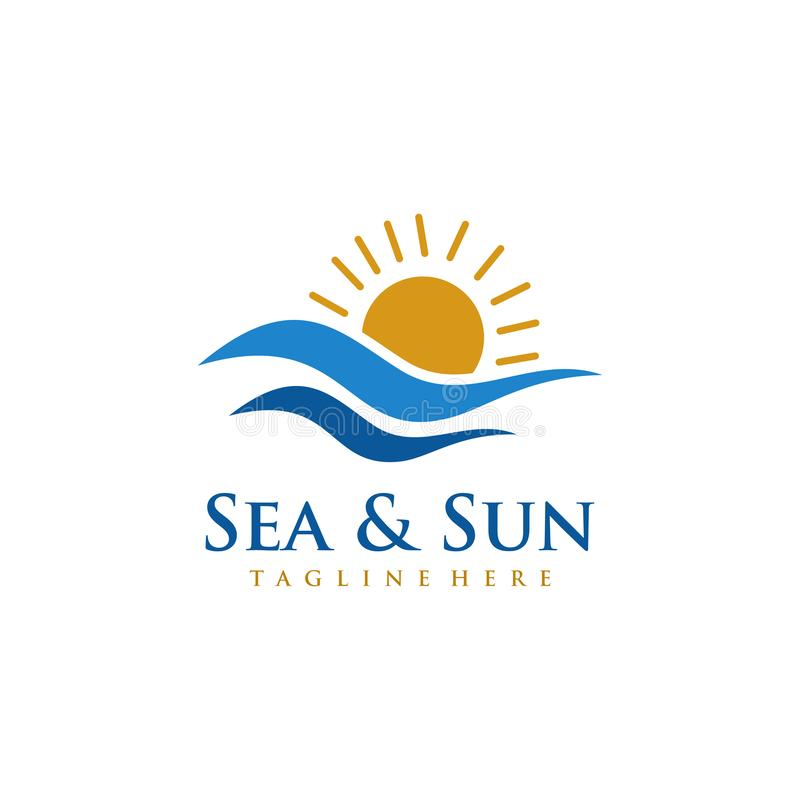 Conception de logo de mer et de Sun illustration libre de droits