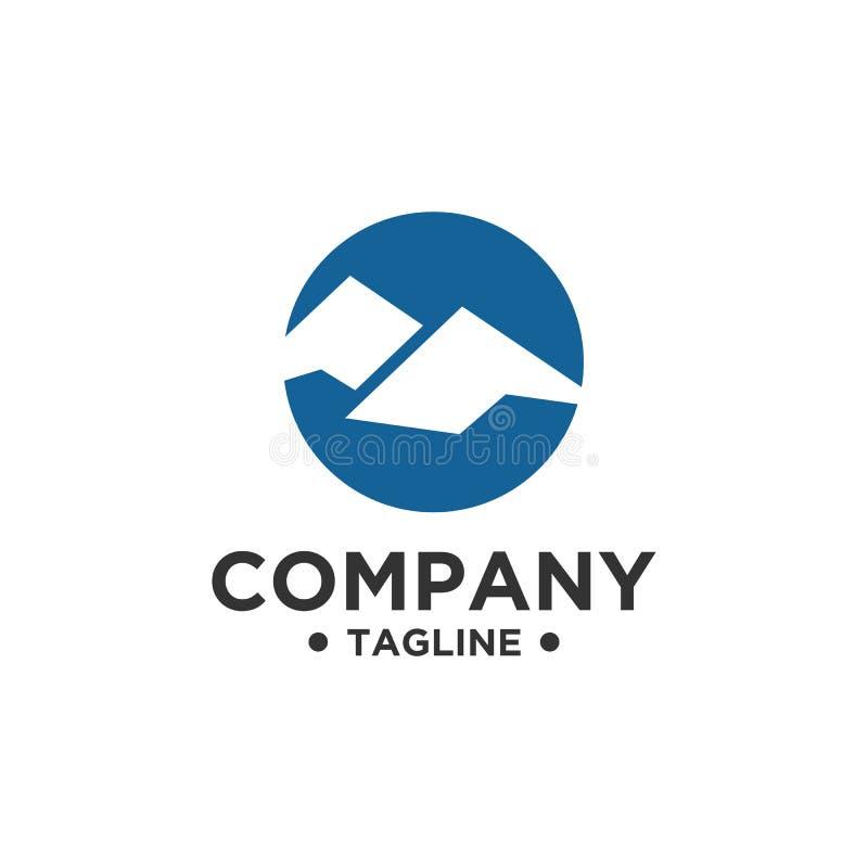 Conception de logo de montagne avec la couleur bleue illustration de vecteur