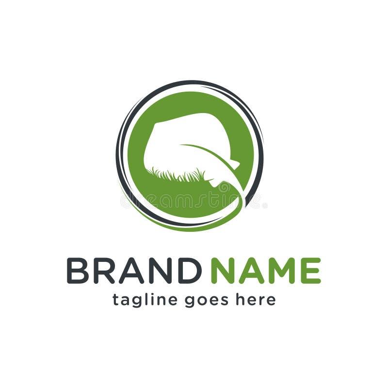 Conception de logo de pastenague sur l'herbe illustration stock