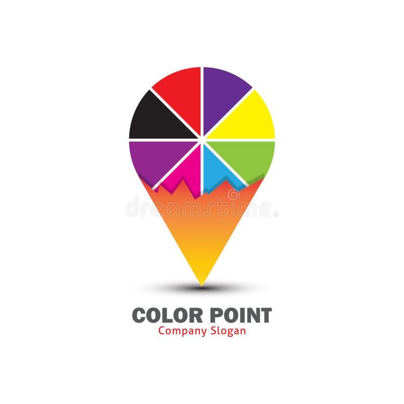 Conception de logo de point de couleur pour l'endroit d'atelier de peinture illustration libre de droits