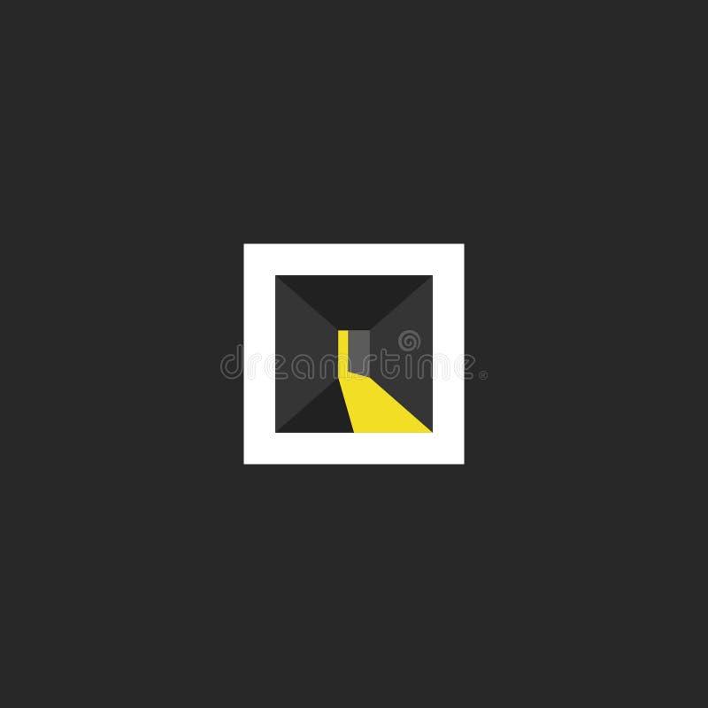 Conception de logo de porte ouverte, chambre noire abstraite avec la lumière dans l'espace de porte, emblème isométrique de dessi illustration libre de droits