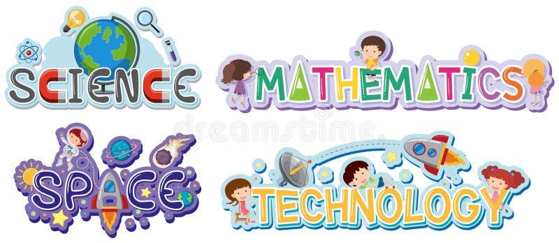 Conception de logo pour des matières d'enseignement illustration libre de droits