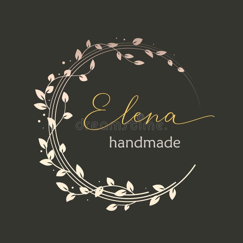 Conception de logo de Premade avec la guirlande florale d'or Branches et feuilles d'arbre Calibre féminin de logotype illustration stock