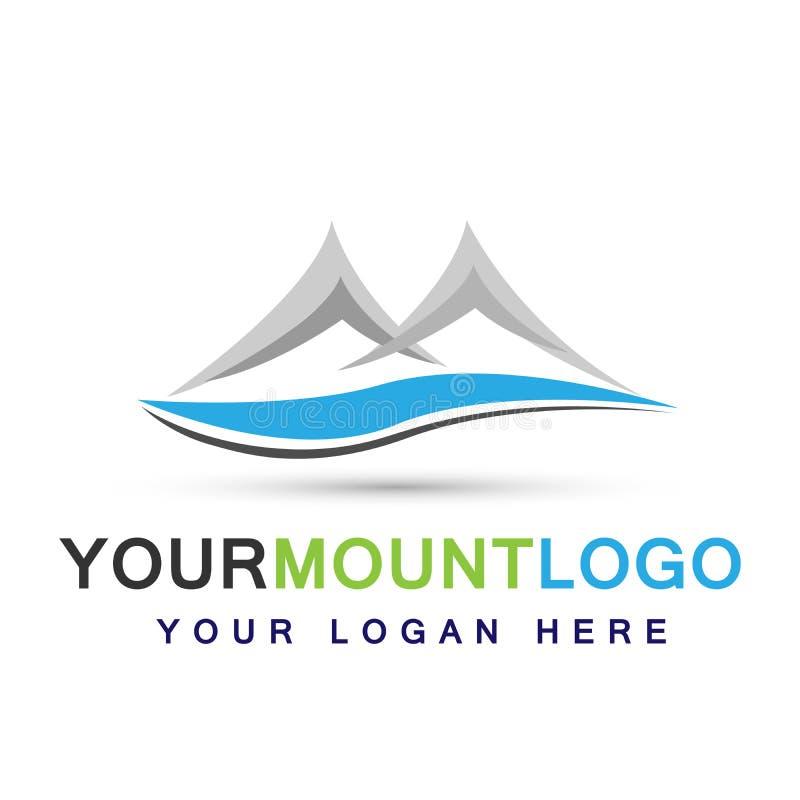 Conception de logo de symbole d'icônes de logo de dessus de glace de neige de chaîne de montagne sur le fond blanc illustration libre de droits