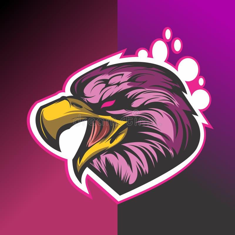 Conception de logo de tête d'Eagle rétro illustration libre de droits