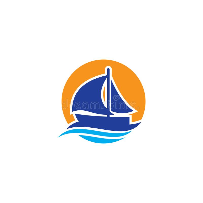 Conception de logo de vague de bateau de cercle illustration libre de droits