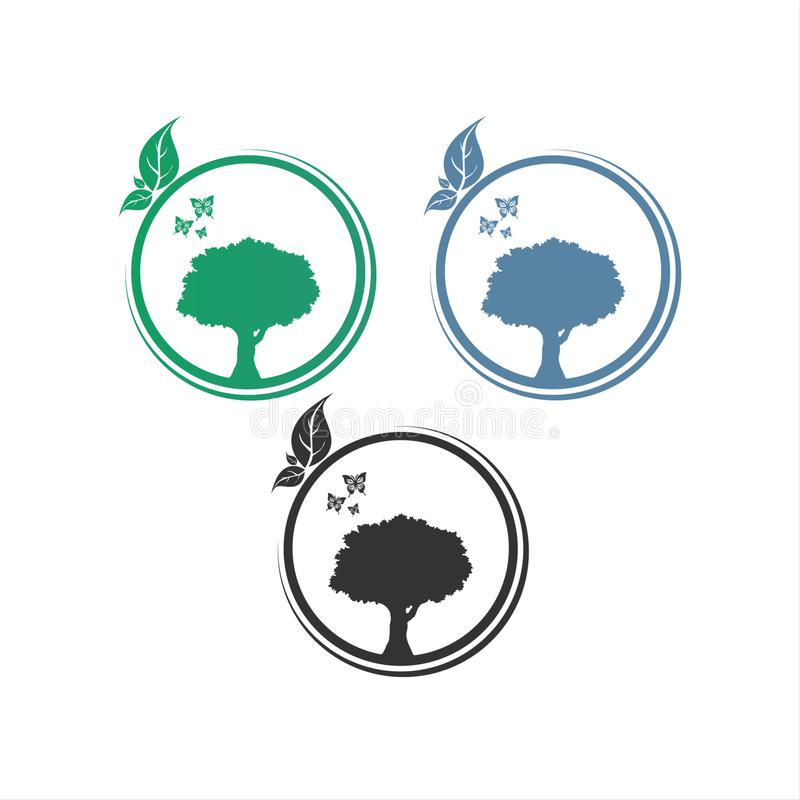 Conception de logo de vecteur de Logo Circle Tree illustration stock