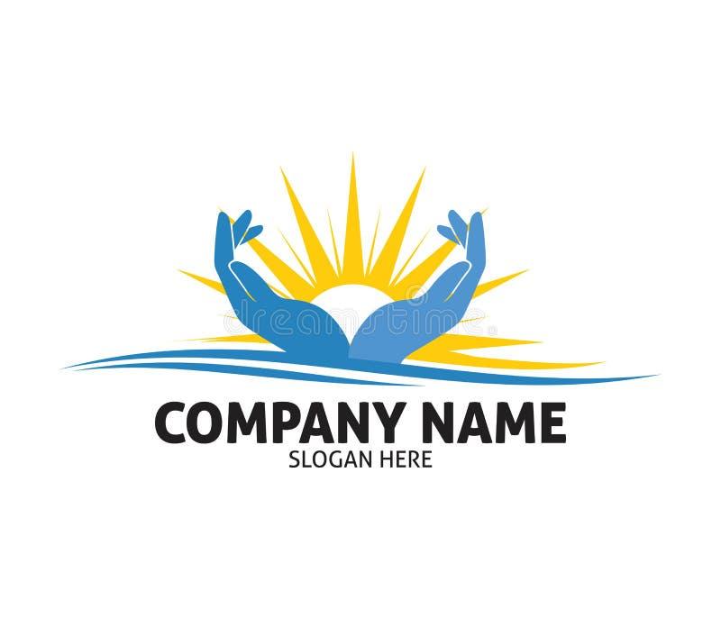 Conception de logo de vecteur de compassion d'amour de charité de main d'espoir illustration de vecteur