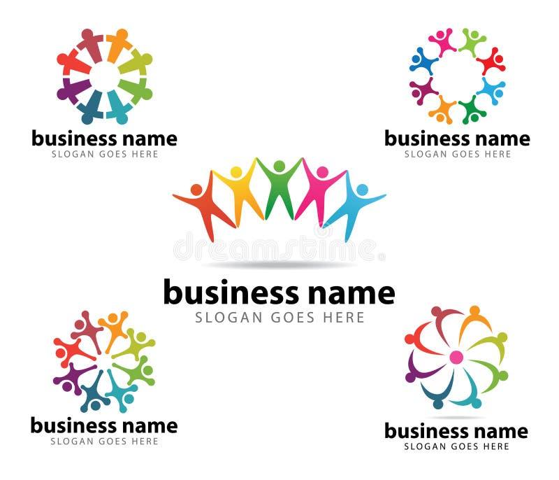 Conception de logo de vecteur d'accomplissement de succès de chef d'organisation de la Communauté illustration de vecteur