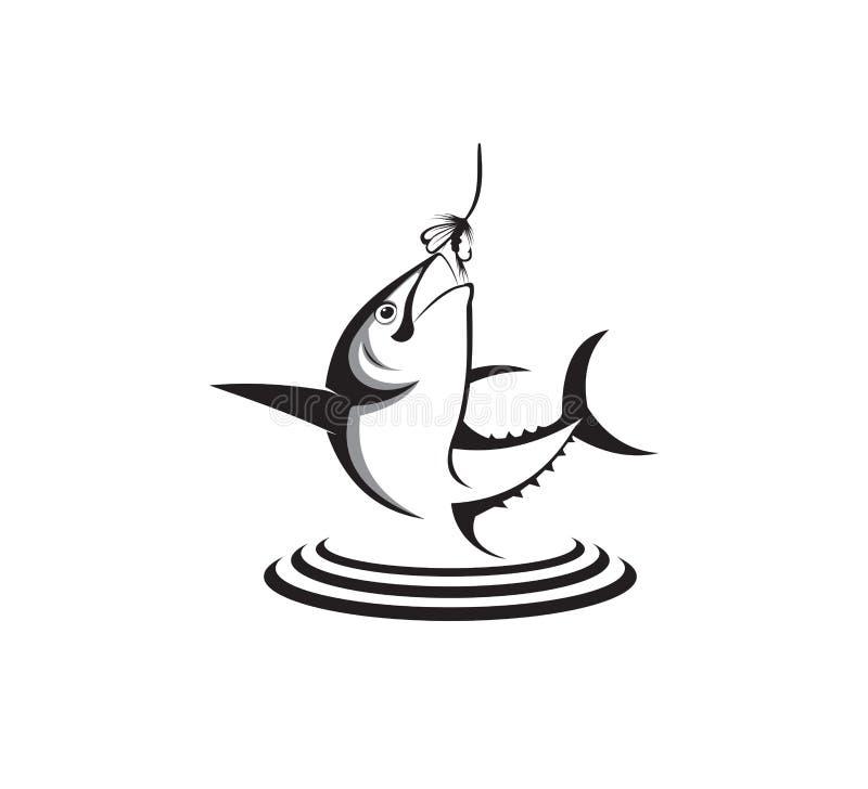 conception de logo de vecteur d'icône de pêche sportive ou de pêcheur à la ligne illustration stock