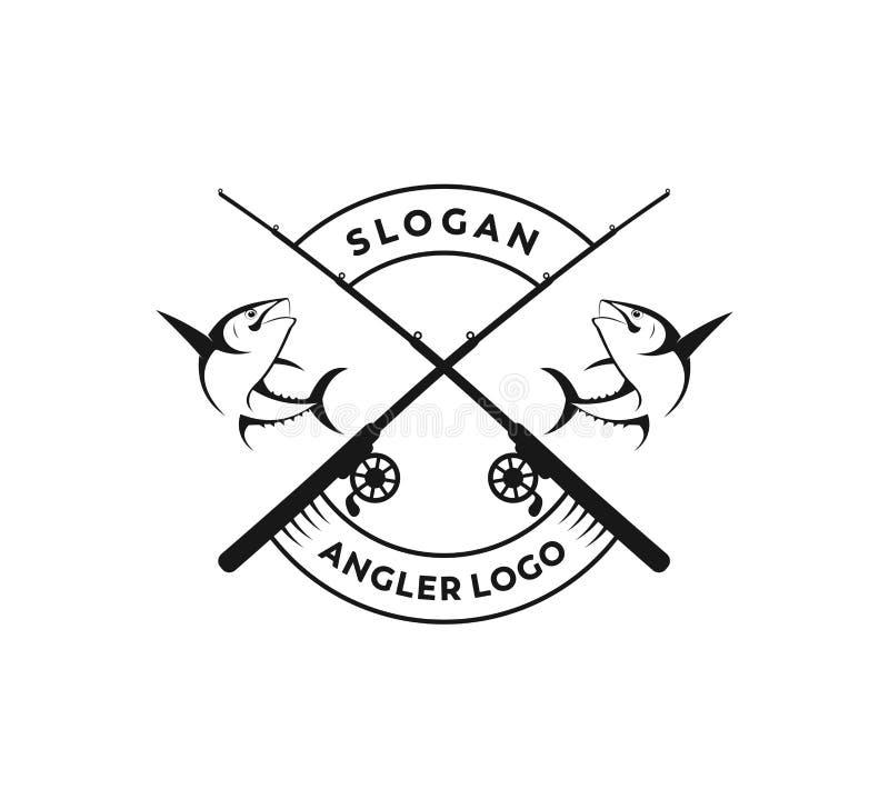 conception de logo de vecteur d'icône de pêche sportive ou de pêcheur à la ligne illustration libre de droits