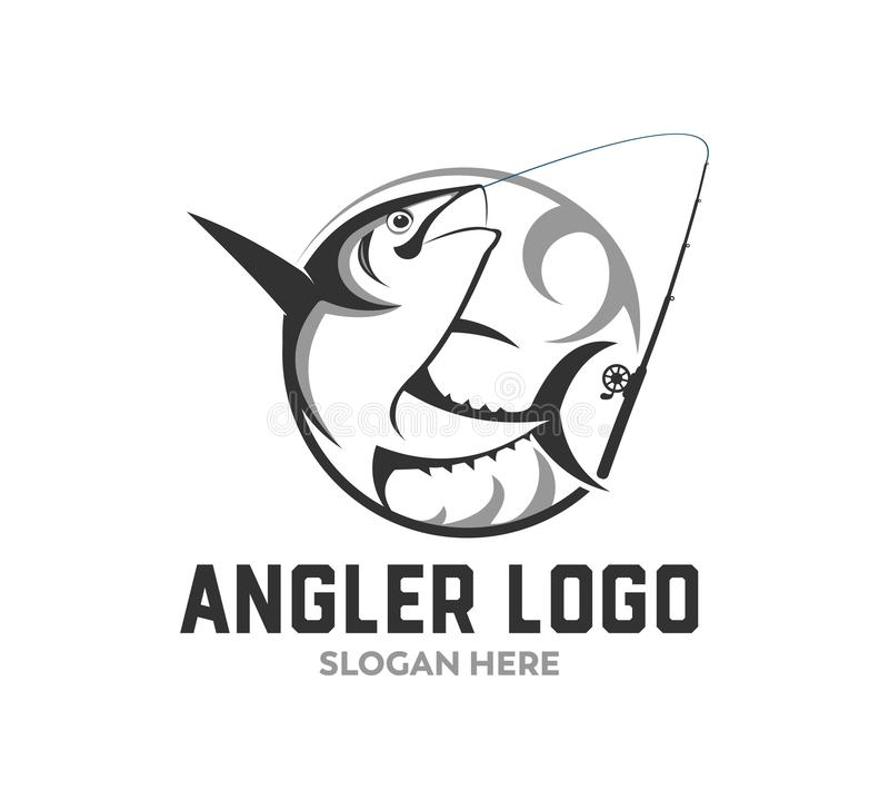 conception de logo de vecteur d'icône de pêche sportive ou de pêcheur à la ligne illustration de vecteur