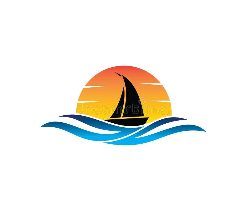 Conception de logo de vecteur du tourisme de navigation d'été de plage d'eau de mer d'océan illustration stock
