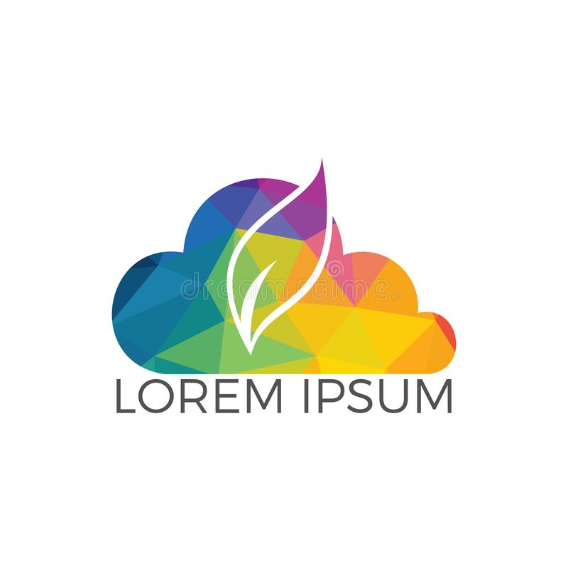 Conception de logo de vecteur de feuille de nuage illustration libre de droits