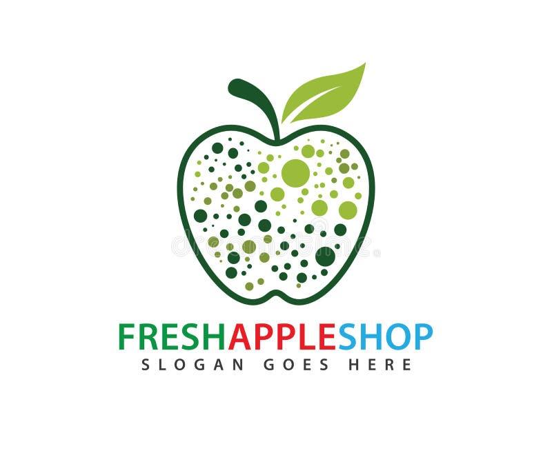 Conception de logo de vecteur de fruit de pomme d'élément de vitamine illustration libre de droits