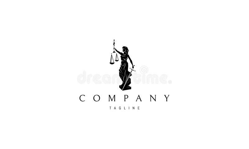 Conception de logo de vecteur de Madame Justice Statue Black illustration libre de droits