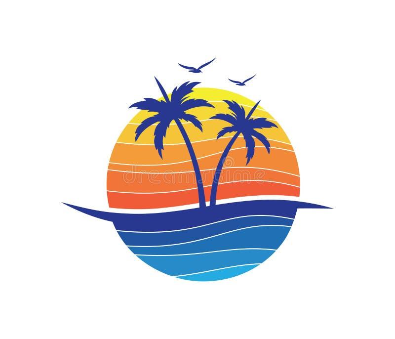 Conception de logo de vecteur de palmier de noix de coco de plage d'été de vacances de tourisme d'hôtel illustration de vecteur