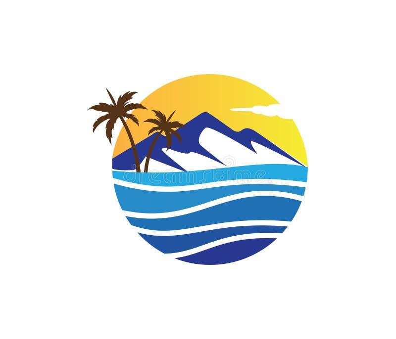 Conception de logo de vecteur de palmier de noix de coco de plage d'été de vacances de tourisme d'hôtel illustration stock