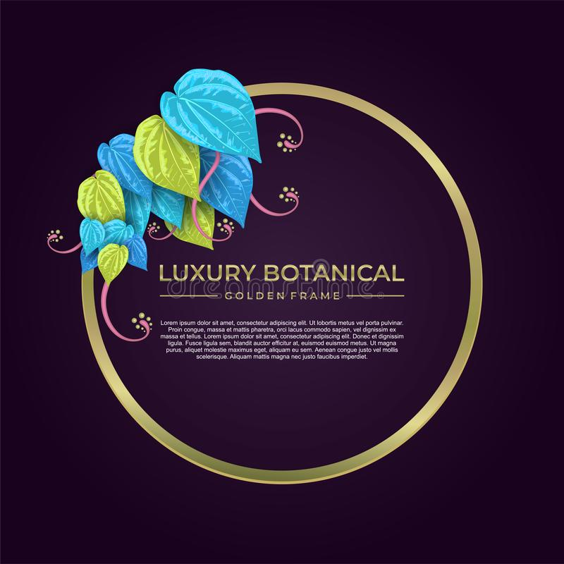 Conception de luxe d'or de cadre de calibre botanique de banni?re illustration de vecteur