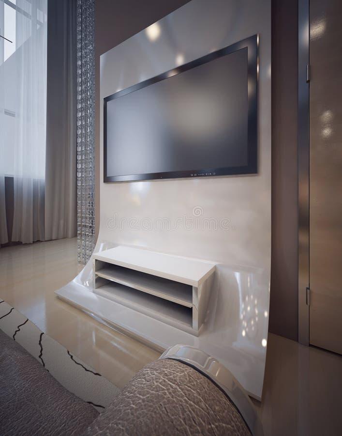 Conception de maison de TV dans la chambre à coucher dans un style moderne luxueux photos libres de droits